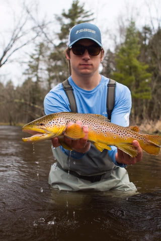 "Alex Klekotka (PB Brown) - 23"" Caught while Steelheading. ""Thought I was hooked to a log until it came to life, "" Alex shares. ""A memory that will last forever!"""