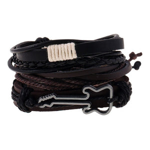 Bracelet Stacked Guitar Leather Bracelet - Kultur•Vultur -Brown & Black