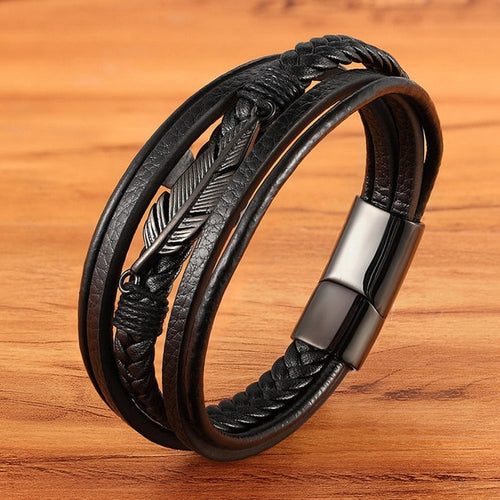 Leather Stainless Steel Emblem Bracelet - Kultur•Vultur -Black / 23cm