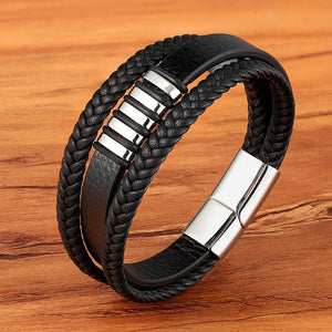 Leather Dual Layer Lagen Zwart Bracelet - Kultur•Vultur -Steel / 19 cm