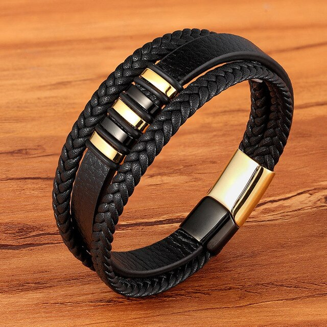 Leather Dual Layer Lagen Zwart Bracelet - Kultur•Vultur -Gold with Black / 19 cm