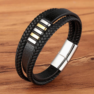 Leather Dual Layer Lagen Zwart Bracelet - Kultur•Vultur -Gold with Steel / 19 cm