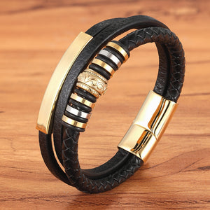 3 Layer King Leer Armband - Kultur•Vultur -