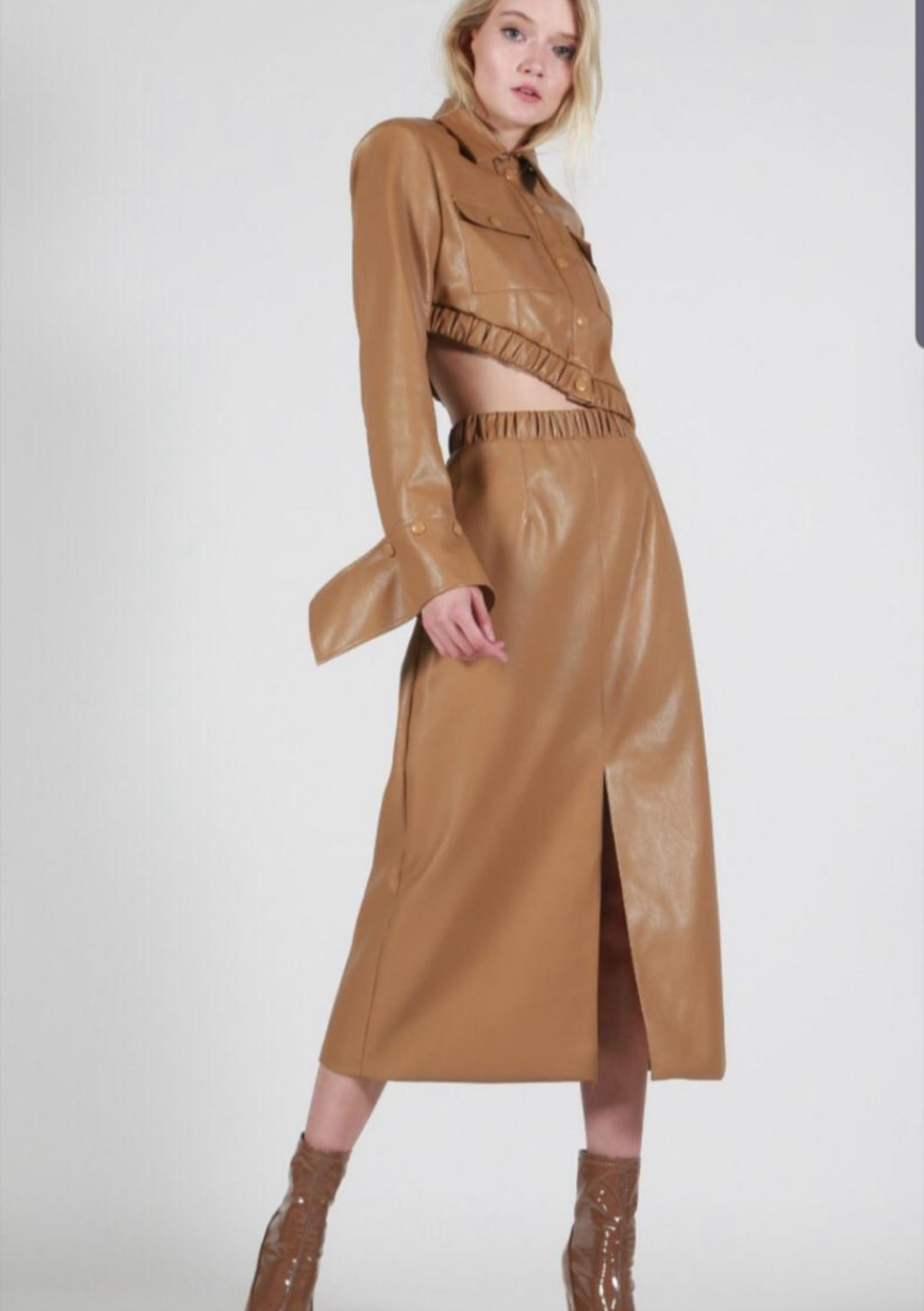 Milano Leather Jacket & Skirt Set