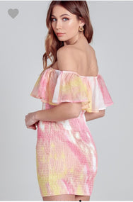 SELENE TIE DYE SMOCK DRESS PINK/YELLOW