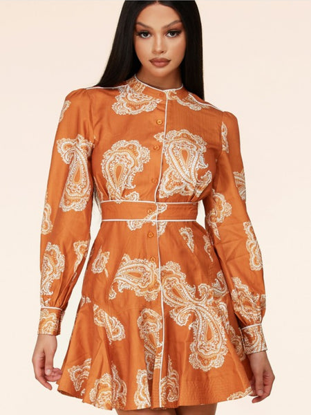 GINGER PAISLEY MINI DRESS