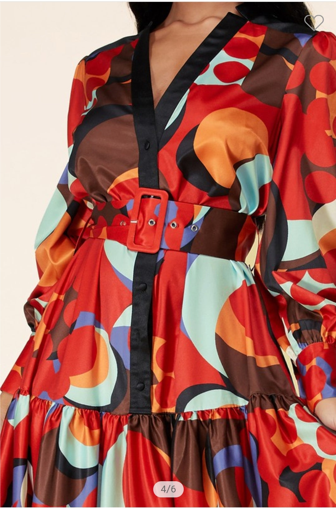 RED ABSTRACT MAXI DRESS