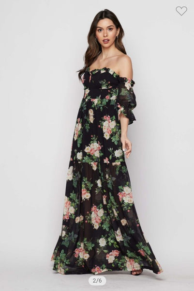 BLACK BLOOM MAXI DRESS