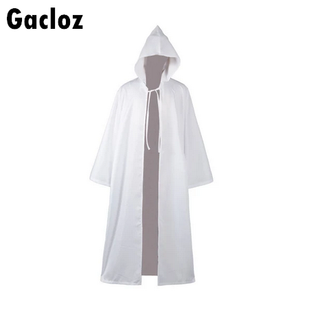 Gacloz       Star Wars Jedi Sith Tunic Hooded Costume Cosplay Robe Cloak Cape Hoodie White