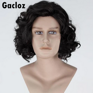 Gacloz    Game of Thrones Jon Snow Black Short Curly Wig Synthetic Halloween Cosplay Wigs