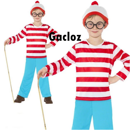 Gacloz  Where's Wally Wenda  Kid Boy New Fancy Dress Costume