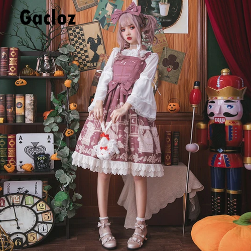 Gacloz    Lolita Lace Dress - PaleVioletRed