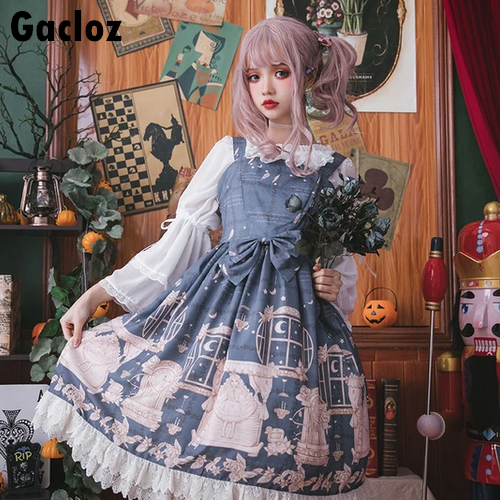 Gacloz   Lolita Lace Dress - SteelBlue