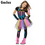 Gacloz   Kid Girl Rainbow Dkeleton Skirt Halloween Skull Costume