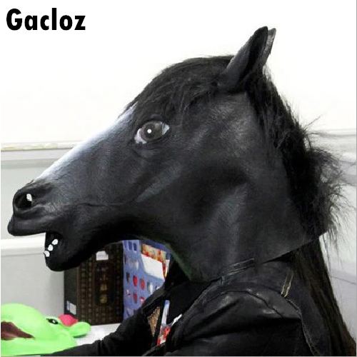Gacloz    Rubber Hores Head Mask Fancy Party Cosplay Adult Costume