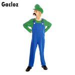 Gacloz    Kids Boys Green Super Workman Plumber Super Luigi Bros Fancy Dress Costume