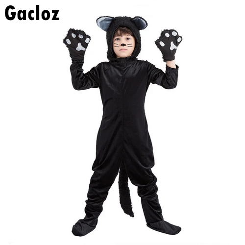 Gacloz  Black Cat Animal Plays Siamese Costume - Kid
