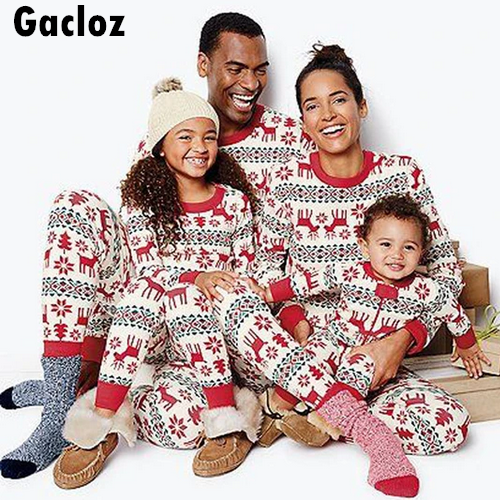 Gacloz  Adult children family matching elk print Christmas pajamas