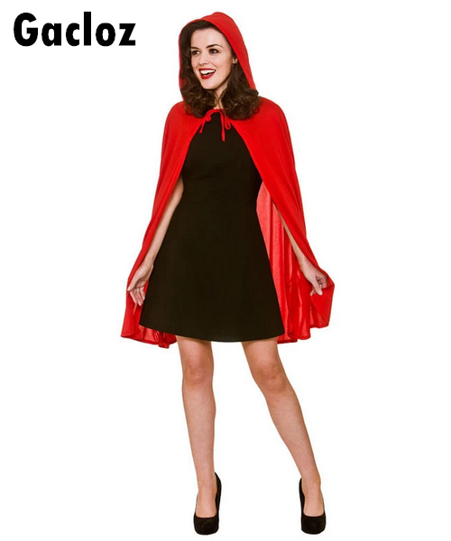 Gacloz   Adult Ladies Short Soft Little Red Riding Hood Cape & Hood Cloak Fancy Dress