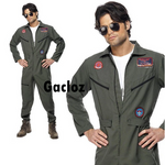 Gacloz  Adult Mens Top Gun Costume Outfit Flight Suit  Fancy Dress Uniform
