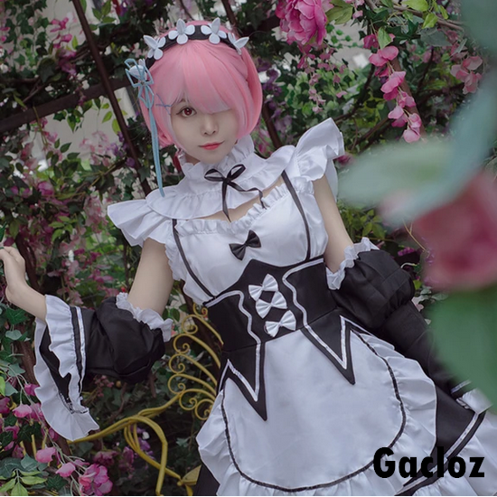 Gacloz  Adult Rem Ram Female Cosplay Costume Maid Set