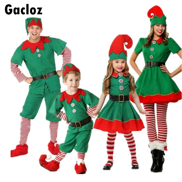 Gacloz  Christmas Costume Green Elf Family Parent-Child Outfit
