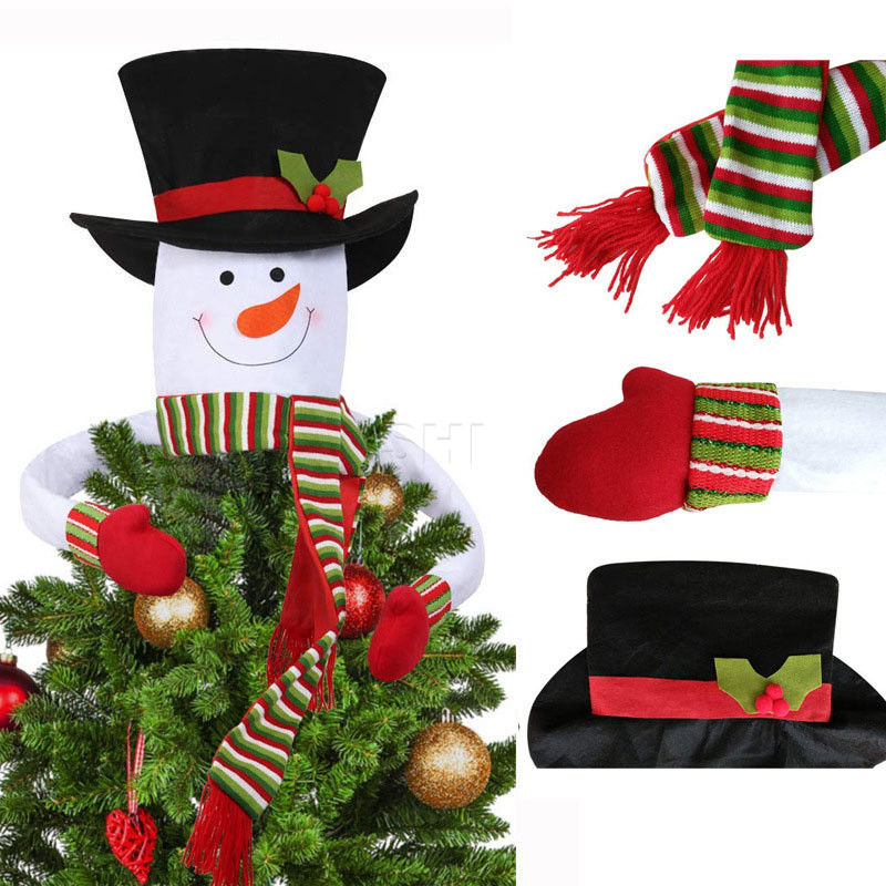 Xmas Scarf Snowman Christmas Tree Cover Topper Ornaments Indoor Decoration Gifts