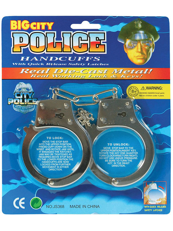 Gacloz   Kids Toy Metal Handcuffs Hand Cuffs Police Fancy Dress Children Pretend Play