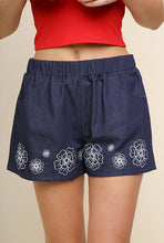 Load image into Gallery viewer, Floral Embroidered Denim Shorts with Elastic Waistband and Pockets