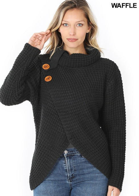 Black heavyweight cross sweater with button detail at neckline
