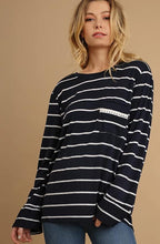 Load image into Gallery viewer, Navy stripe top with lace detail on back and front pocket