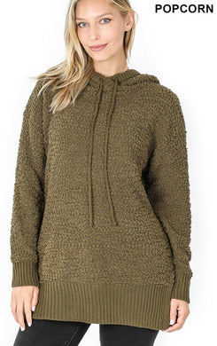 long sleeve, hooded sweater dress. Fuzzy, army green color