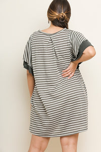 Striped Pocket Tee Dress with Layered Ruffle Sleeves