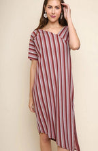 Load image into Gallery viewer, Ribbed Multicolor Striped Short Sleeve Midi Dress with an Asymmetrical Neckline and Slit Hem