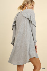 Heather Grey Dress with Shoulder ruffle and pockets