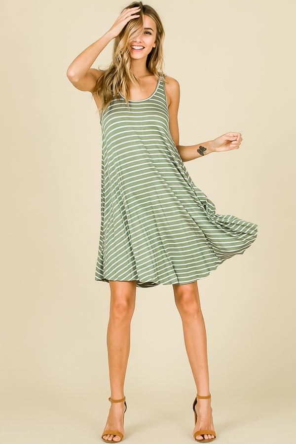 Swing style tank dress with green stripes.