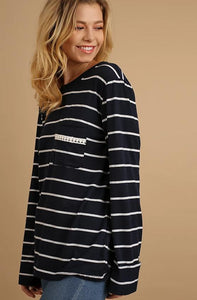 Navy stripe top with lace detail on back and front pocket