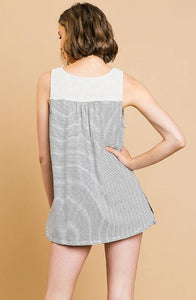 Striped Sleeveless Heathered Yoke Button Front V-Neck Top with Ruffle Trim