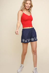Floral Embroidered Denim Shorts with Elastic Waistband and Pockets