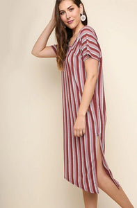Ribbed Multicolor Striped Short Sleeve Midi Dress with an Asymmetrical Neckline and Slit Hem