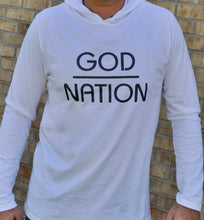 Load image into Gallery viewer, white hoodie with grey print GOD - Nation and grey drawstrings