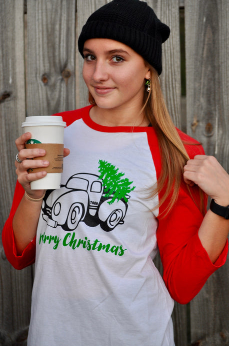 Truck Christmas Shirt with tree and Merry Christmas on white shirt with 3/4 length red sleeves