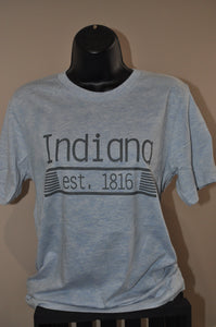 Unisex sized heather blue shirt with Indiana and est. 1816 printed with grey ink on the front.