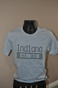 Unisex sized heather blue shirt with Indiana printed with grey ink on the front.