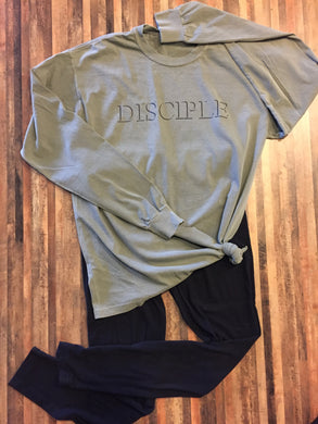 Army Green shirt with Disciple printed across the front