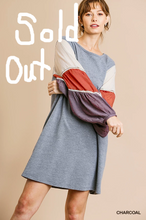 Load image into Gallery viewer, Denim blue dress with puff sleeves in Cream, Brick and Plum colors