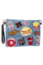 Load image into Gallery viewer, Fast Food Patched Denim Clutch Bag - Torn Together