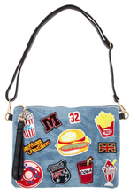 Load image into Gallery viewer, Denim clutch and purse with fast food patch sewn on