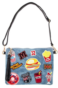 Denim clutch and purse with fast food patch sewn on
