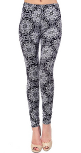 black and white flower butter soft leggings